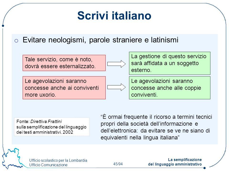 Ufficio scolastico per la Lombardia Ufficio Comunicazione 45/94 La semplificazione del linguaggio amministrativo Scrivi italiano o Evitare neologismi,