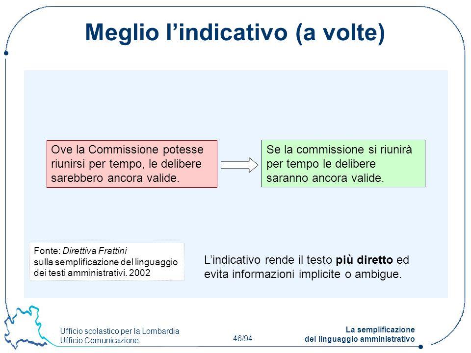 Ufficio scolastico per la Lombardia Ufficio Comunicazione 46/94 La semplificazione del linguaggio amministrativo Meglio lindicativo (a volte) Ove la C