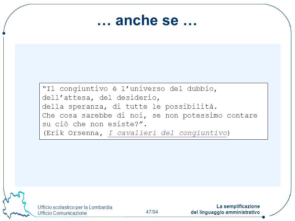 Ufficio scolastico per la Lombardia Ufficio Comunicazione 47/94 La semplificazione del linguaggio amministrativo … anche se … Il congiuntivo è luniver