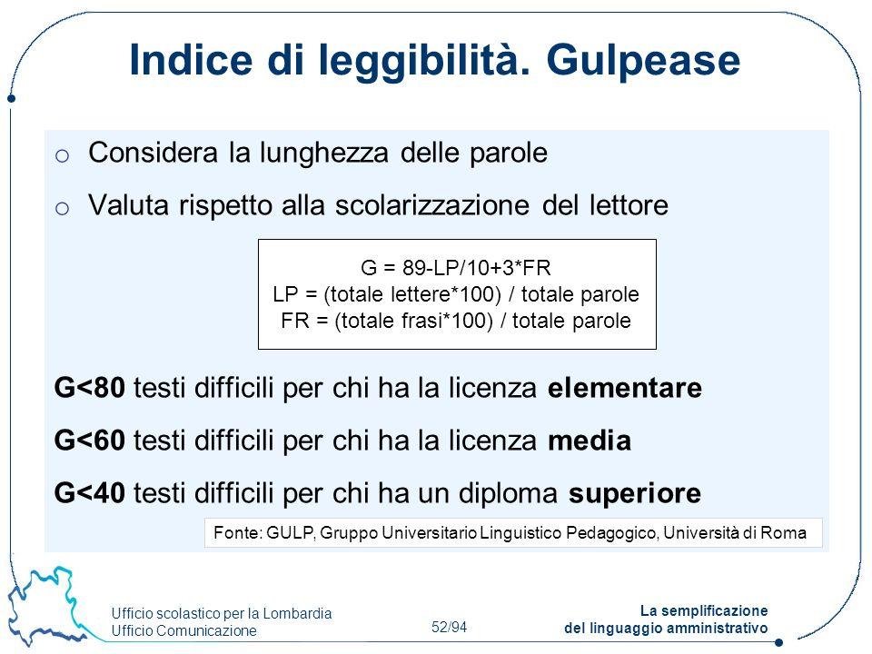 Ufficio scolastico per la Lombardia Ufficio Comunicazione 52/94 La semplificazione del linguaggio amministrativo Indice di leggibilità. Gulpease o Con