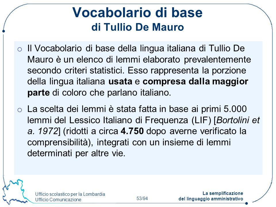 Ufficio scolastico per la Lombardia Ufficio Comunicazione 53/94 La semplificazione del linguaggio amministrativo Vocabolario di base di Tullio De Maur