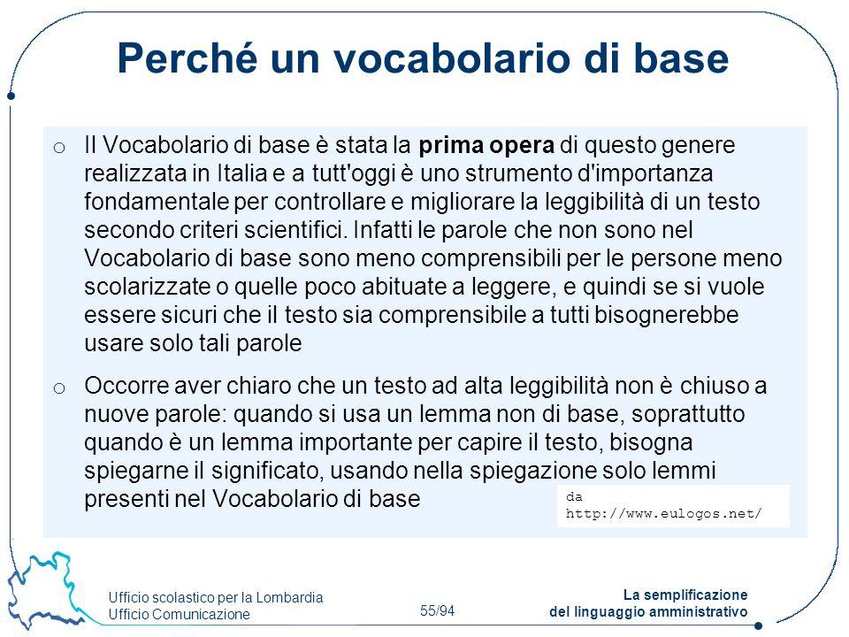 Ufficio scolastico per la Lombardia Ufficio Comunicazione 55/94 La semplificazione del linguaggio amministrativo Perché un vocabolario di base o Il Vo
