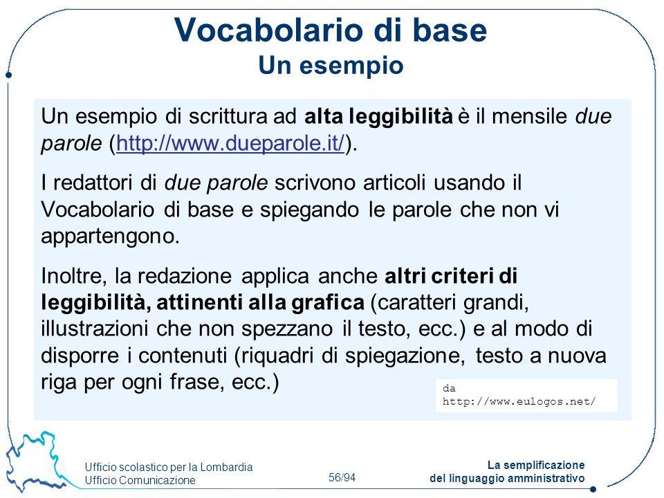 Ufficio scolastico per la Lombardia Ufficio Comunicazione 56/94 La semplificazione del linguaggio amministrativo Vocabolario di base Un esempio Un ese