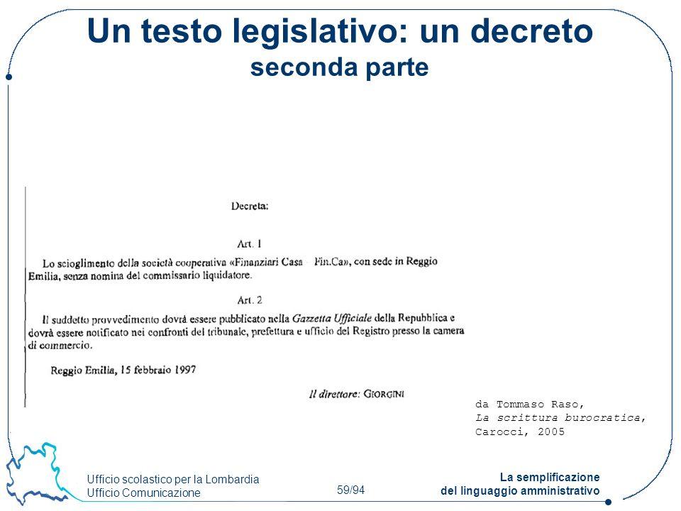 Ufficio scolastico per la Lombardia Ufficio Comunicazione 59/94 La semplificazione del linguaggio amministrativo Un testo legislativo: un decreto seco