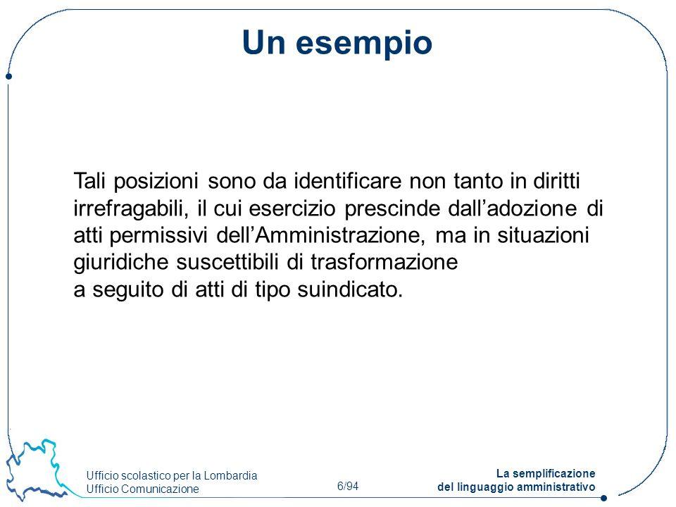 Ufficio scolastico per la Lombardia Ufficio Comunicazione 6/94 La semplificazione del linguaggio amministrativo Un esempio Tali posizioni sono da iden