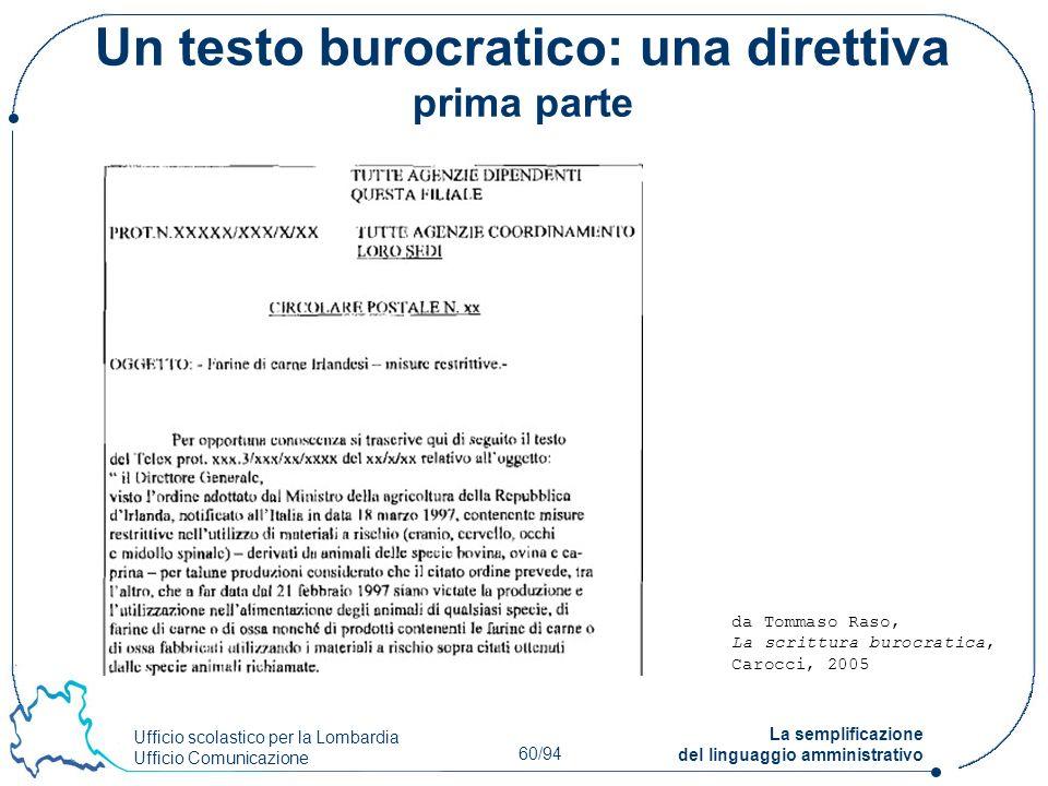Ufficio scolastico per la Lombardia Ufficio Comunicazione 60/94 La semplificazione del linguaggio amministrativo Un testo burocratico: una direttiva p