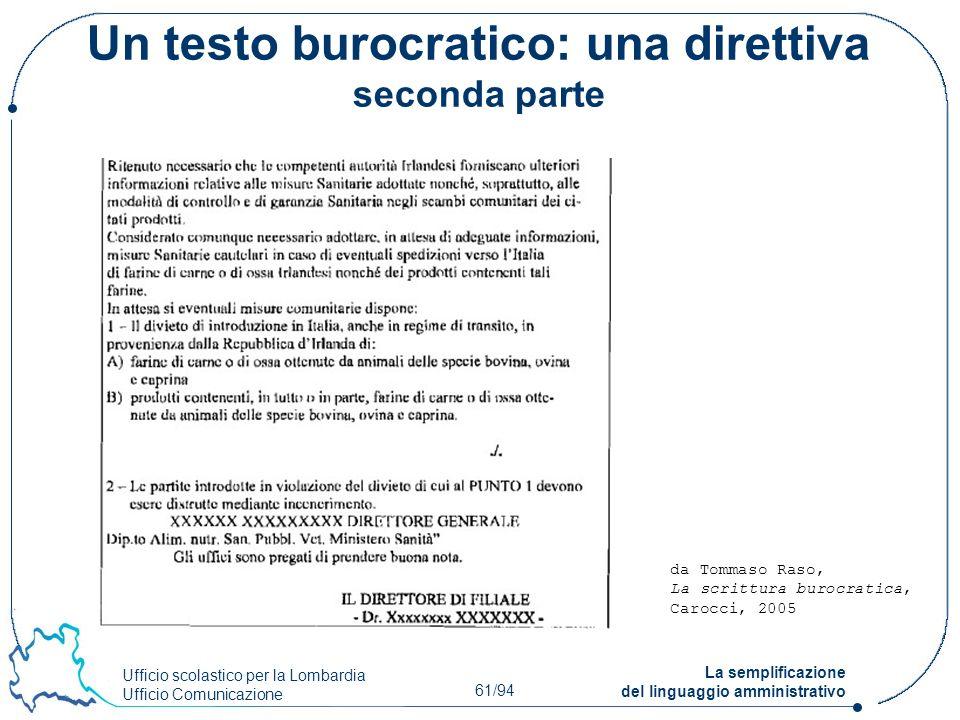 Ufficio scolastico per la Lombardia Ufficio Comunicazione 61/94 La semplificazione del linguaggio amministrativo Un testo burocratico: una direttiva s