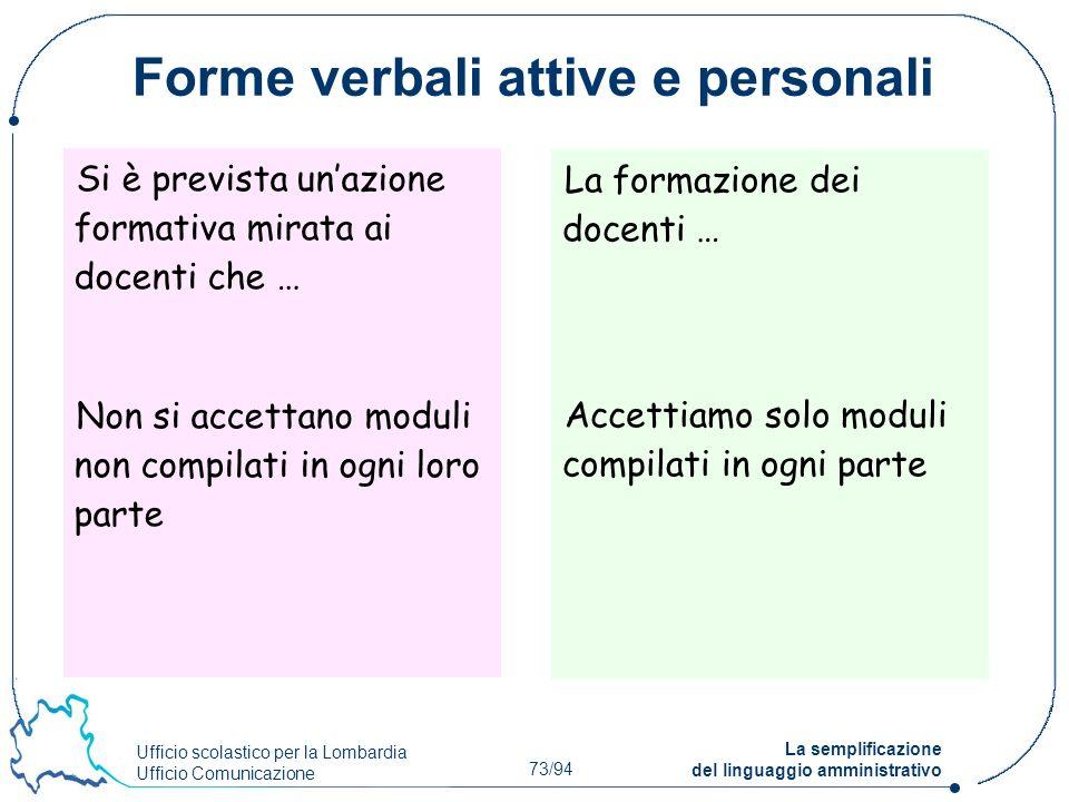 Ufficio scolastico per la Lombardia Ufficio Comunicazione 73/94 La semplificazione del linguaggio amministrativo Forme verbali attive e personali Si è