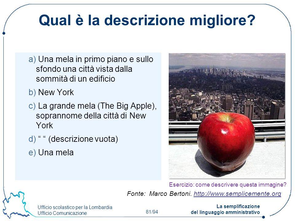 Ufficio scolastico per la Lombardia Ufficio Comunicazione 81/94 La semplificazione del linguaggio amministrativo Qual è la descrizione migliore? a) Un