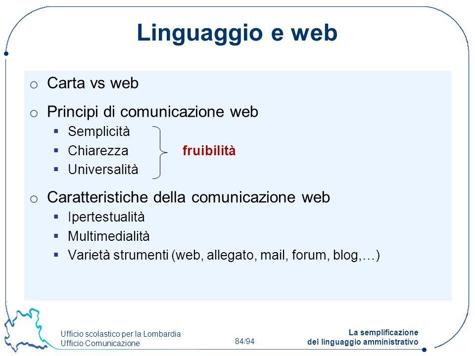 Ufficio scolastico per la Lombardia Ufficio Comunicazione 84/94 La semplificazione del linguaggio amministrativo Linguaggio e web o Carta vs web o Pri