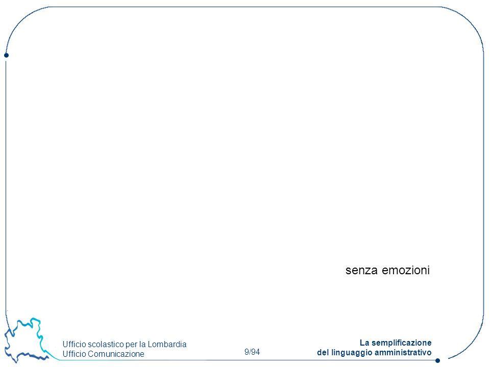 Ufficio scolastico per la Lombardia Ufficio Comunicazione 9/94 La semplificazione del linguaggio amministrativo senza emozioni