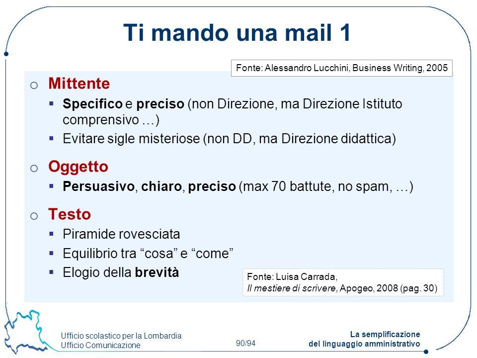 Ufficio scolastico per la Lombardia Ufficio Comunicazione 90/94 La semplificazione del linguaggio amministrativo Ti mando una mail 1 o Mittente Specif