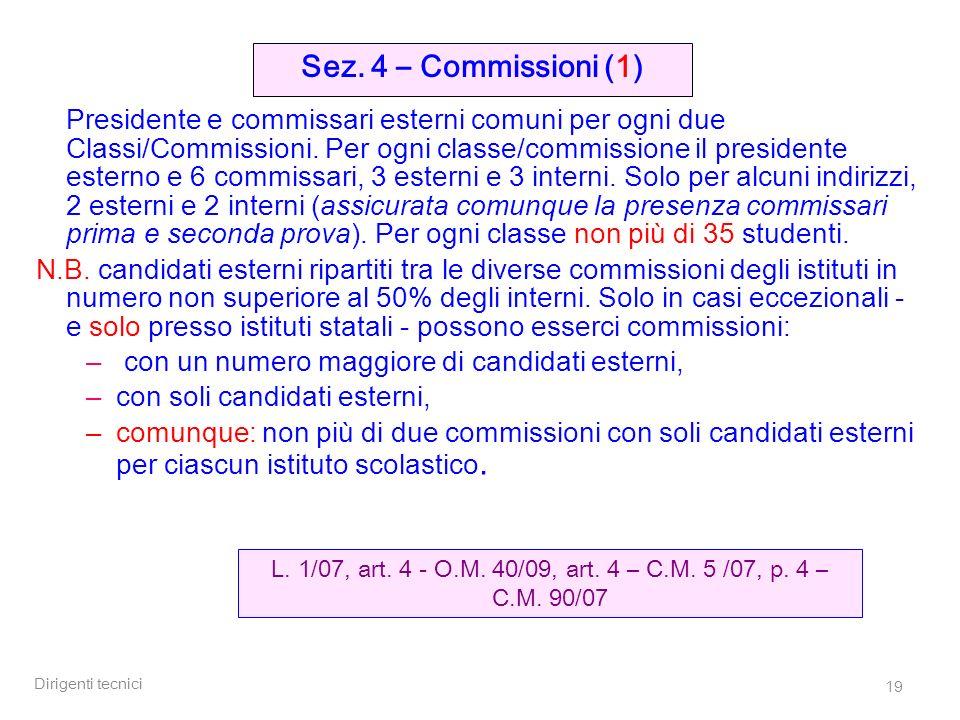 Dirigenti tecnici 19 Presidente e commissari esterni comuni per ogni due Classi/Commissioni.