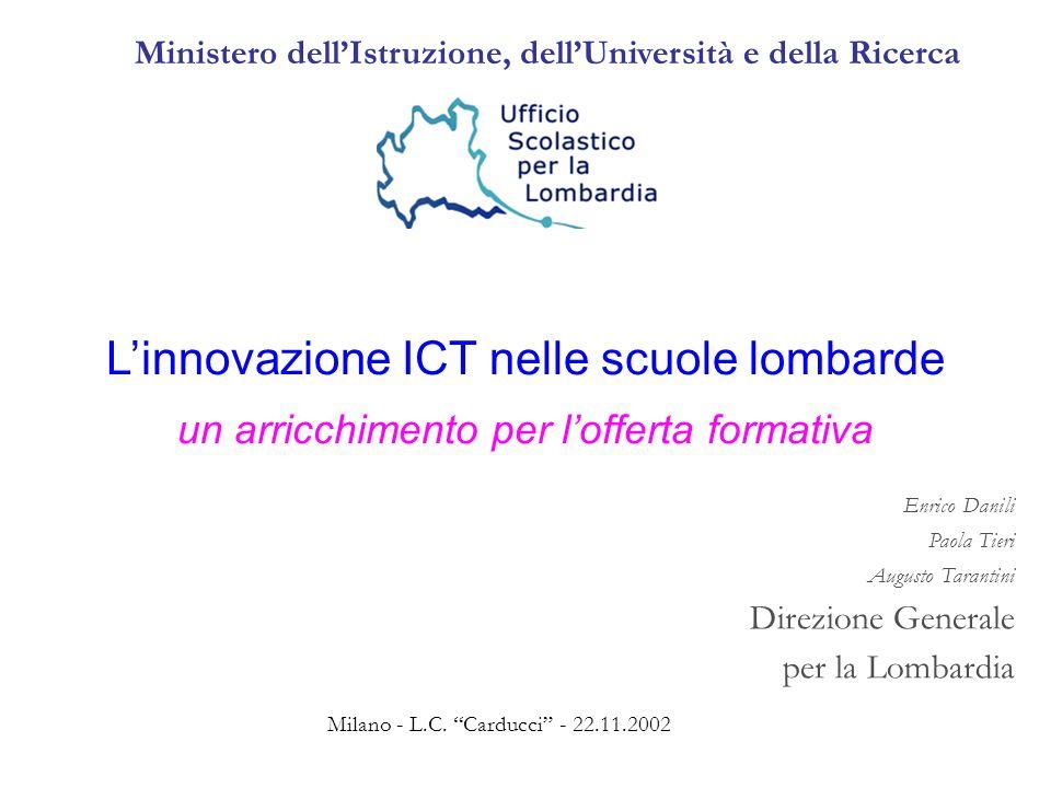 22.11.2002USR Lombardia - Programma - Coordinamento Uff11 2 STRUTTURA STRUTTURA della riunione IL CONTESTO I DATI DEL MONITORAGGIO IL PIANO FOR TIC (C.M.