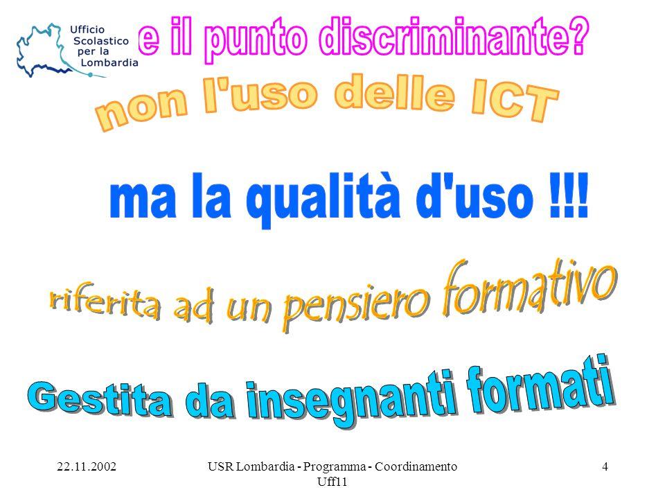 22.11.2002USR Lombardia - Programma - Coordinamento Uff11 5 Area bisogni Area risposte HandiTutor: HandiTutor:...riunificare in rete, con un care-center