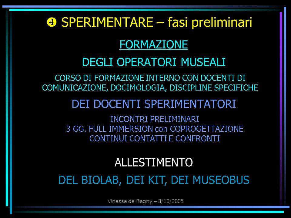 Vinassa de Regny – 3/10/2005 SPERIMENTARE – fasi preliminari FORMAZIONE DEGLI OPERATORI MUSEALI DEI DOCENTI SPERIMENTATORI ALLESTIMENTO DEL BIOLAB, DE
