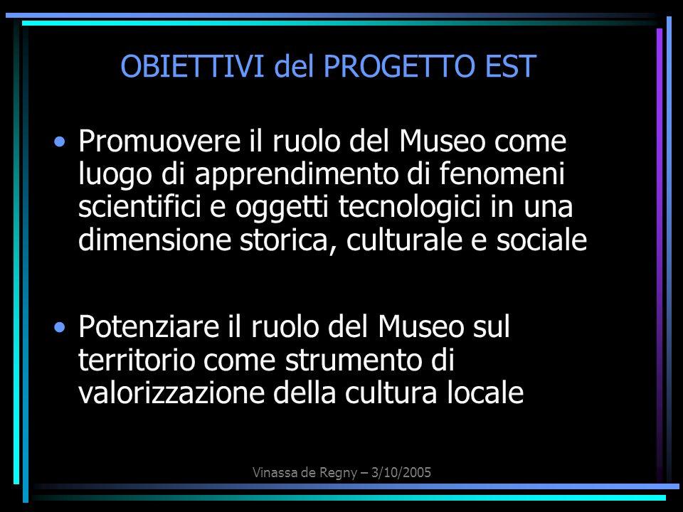 Vinassa de Regny – 3/10/2005 OBIETTIVI del PROGETTO EST Promuovere il ruolo del Museo come luogo di apprendimento di fenomeni scientifici e oggetti te