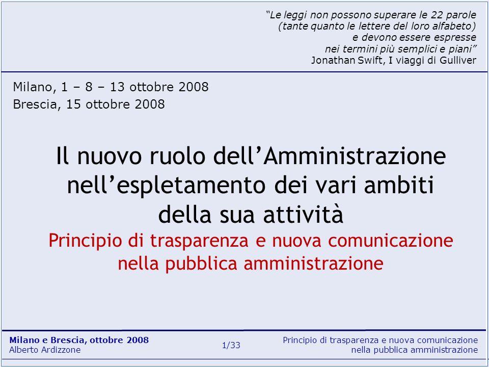 Principio di trasparenza e nuova comunicazione nella pubblica amministrazione Milano e Brescia, ottobre 2008 Alberto Ardizzone 32/33 Siti istituzionali e tematici www.innovazionepa.gov.it www.funzionepubblica.it/dipartimento www.funzionepubblica.it/dit www.urp.it www.magellanopa.it www.italia.gov.it www.compubblica.it www.compa.it www.comunicatoripubblici.it Documenti legislativi L.