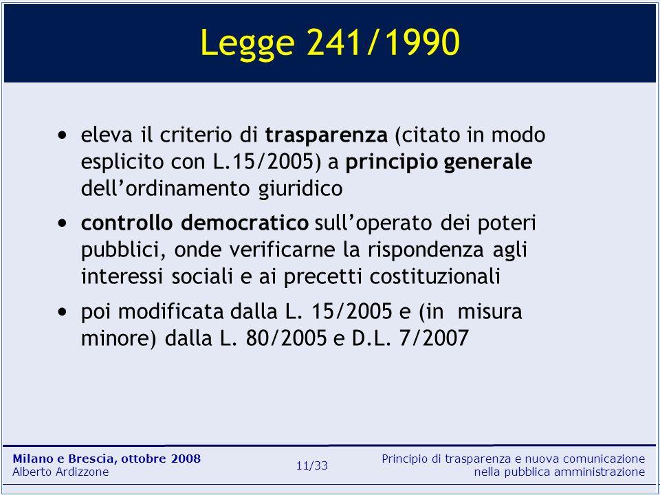 Principio di trasparenza e nuova comunicazione nella pubblica amministrazione Milano e Brescia, ottobre 2008 Alberto Ardizzone 11/33 eleva il criterio