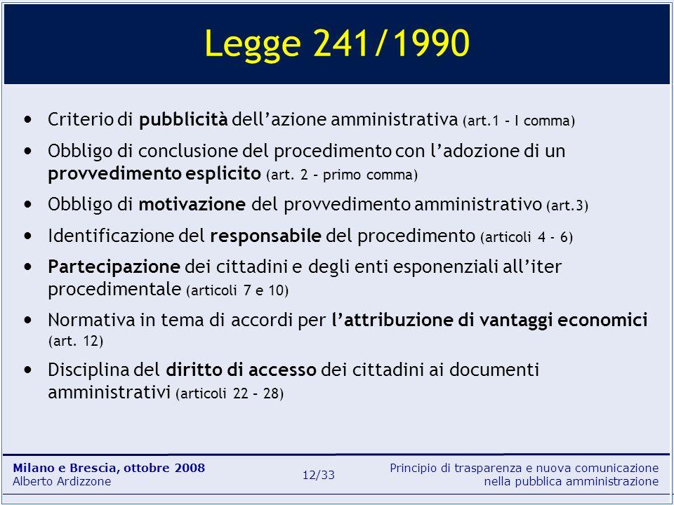 Principio di trasparenza e nuova comunicazione nella pubblica amministrazione Milano e Brescia, ottobre 2008 Alberto Ardizzone 12/33 Legge 241/1990 Cr