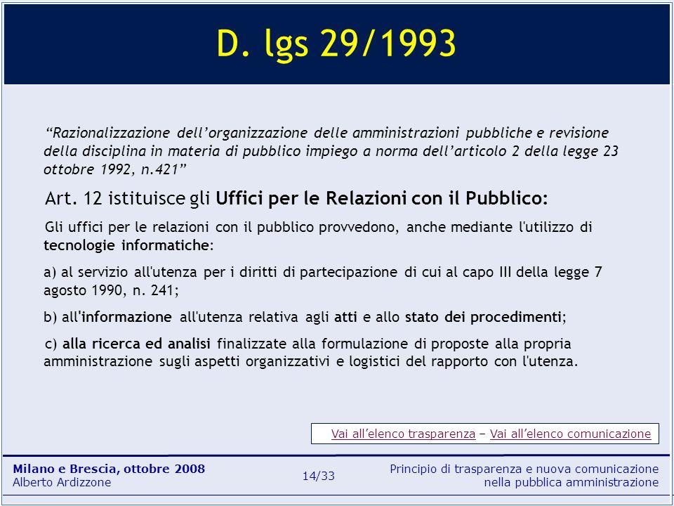 Principio di trasparenza e nuova comunicazione nella pubblica amministrazione Milano e Brescia, ottobre 2008 Alberto Ardizzone 14/33 D. lgs 29/1993 Ra