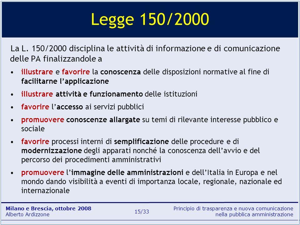 Principio di trasparenza e nuova comunicazione nella pubblica amministrazione Milano e Brescia, ottobre 2008 Alberto Ardizzone 15/33 La L. 150/2000 di