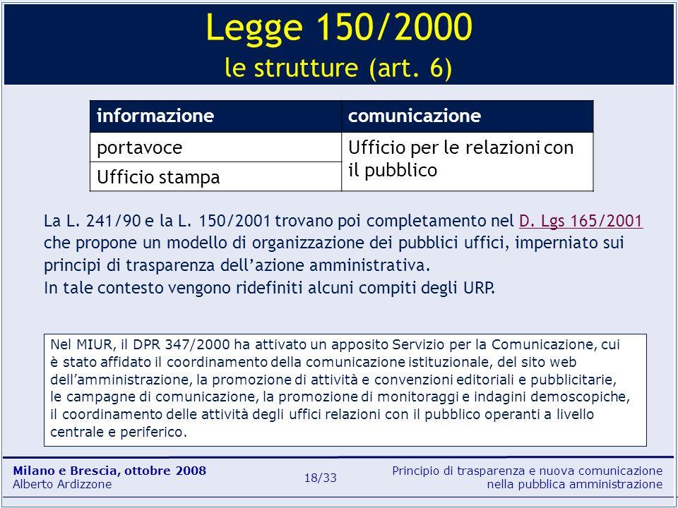 Principio di trasparenza e nuova comunicazione nella pubblica amministrazione Milano e Brescia, ottobre 2008 Alberto Ardizzone 18/33 informazionecomun