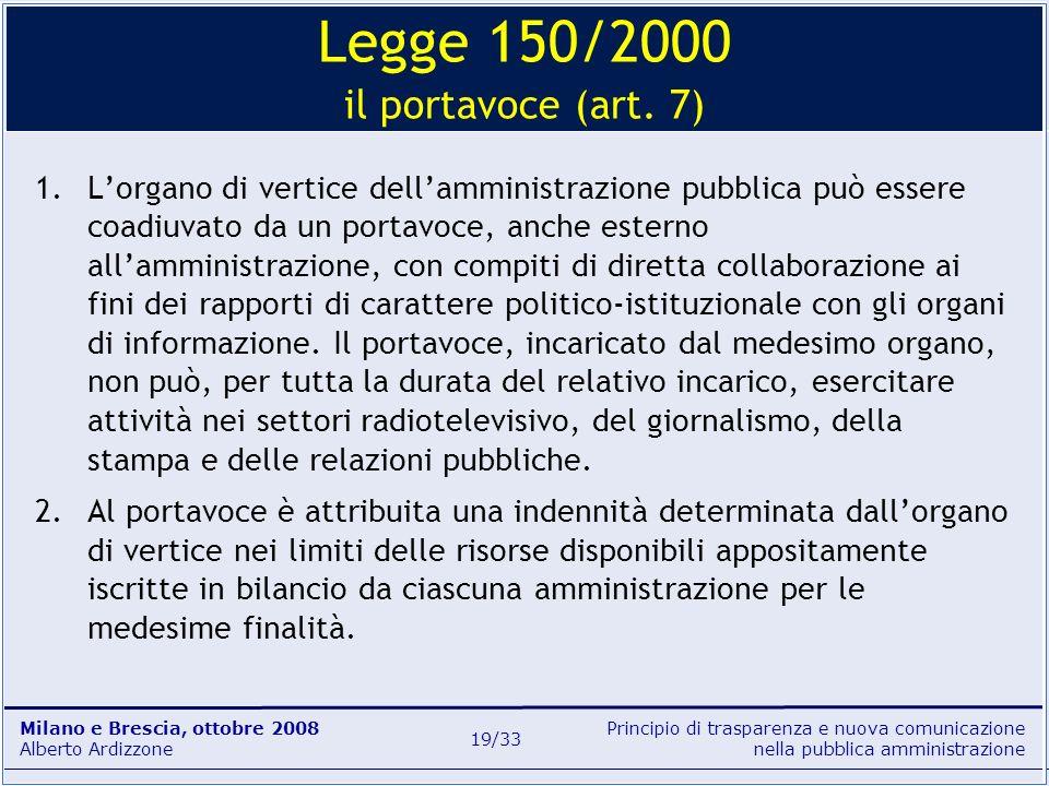 Principio di trasparenza e nuova comunicazione nella pubblica amministrazione Milano e Brescia, ottobre 2008 Alberto Ardizzone 19/33 1.Lorgano di vert