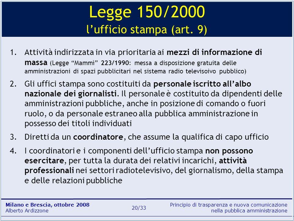 Principio di trasparenza e nuova comunicazione nella pubblica amministrazione Milano e Brescia, ottobre 2008 Alberto Ardizzone 20/33 1.Attività indiri