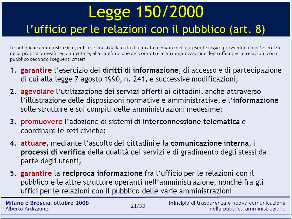 Principio di trasparenza e nuova comunicazione nella pubblica amministrazione Milano e Brescia, ottobre 2008 Alberto Ardizzone 21/33 Le pubbliche ammi
