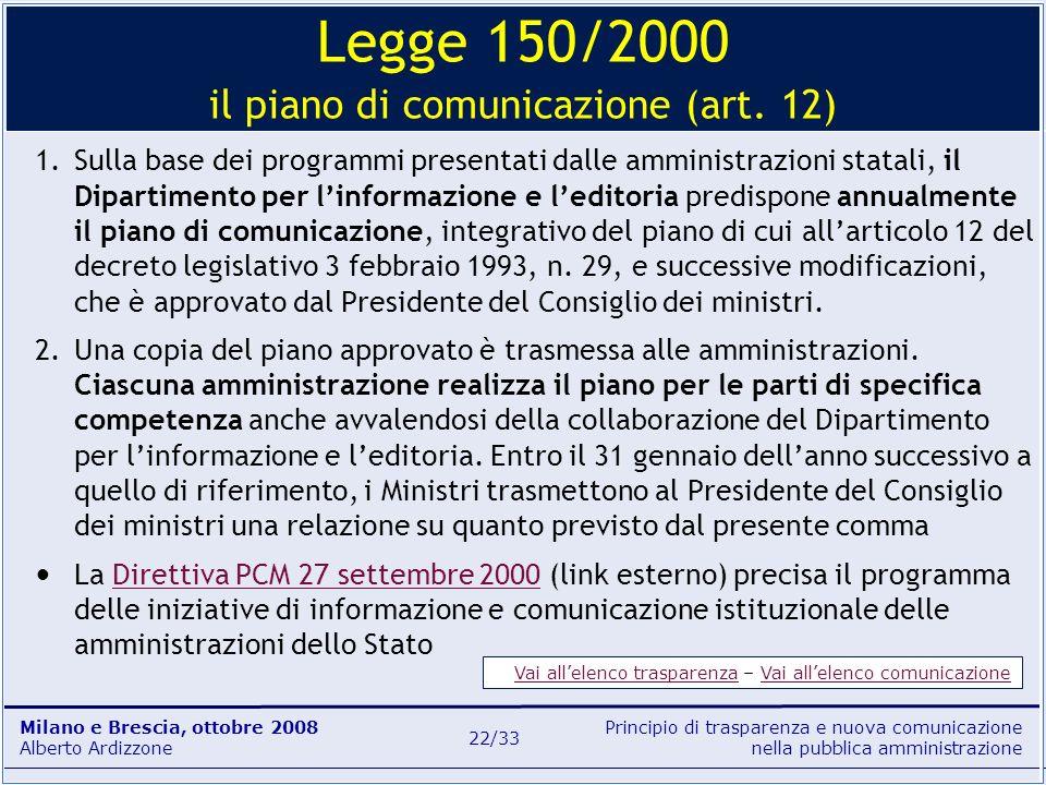 Principio di trasparenza e nuova comunicazione nella pubblica amministrazione Milano e Brescia, ottobre 2008 Alberto Ardizzone 22/33 1.Sulla base dei