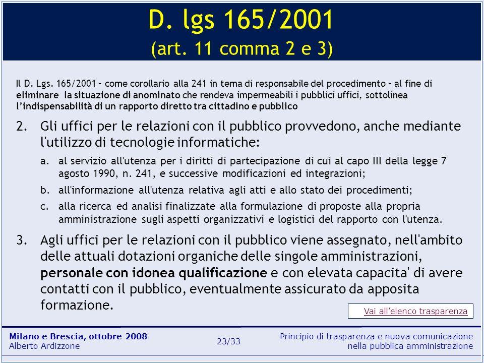 Principio di trasparenza e nuova comunicazione nella pubblica amministrazione Milano e Brescia, ottobre 2008 Alberto Ardizzone 23/33 Il D. Lgs. 165/20