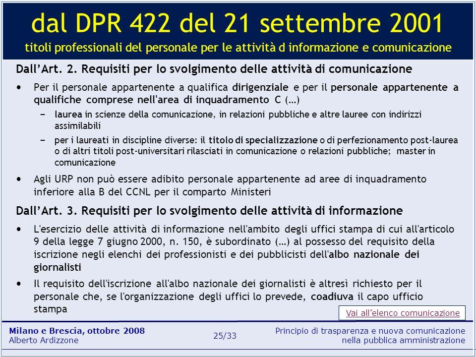 Principio di trasparenza e nuova comunicazione nella pubblica amministrazione Milano e Brescia, ottobre 2008 Alberto Ardizzone 25/33 DallArt. 2. Requi