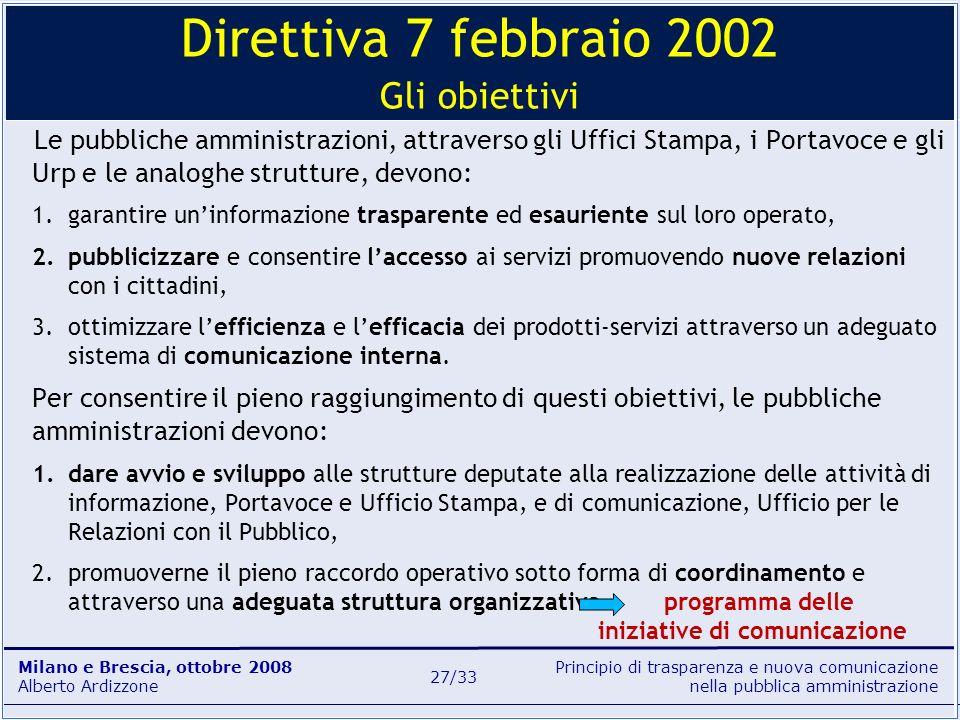 Principio di trasparenza e nuova comunicazione nella pubblica amministrazione Milano e Brescia, ottobre 2008 Alberto Ardizzone 27/33 Le pubbliche ammi