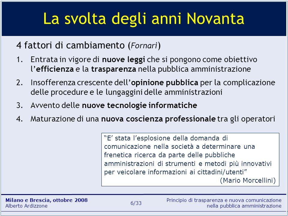 Principio di trasparenza e nuova comunicazione nella pubblica amministrazione Milano e Brescia, ottobre 2008 Alberto Ardizzone 6/33 4 fattori di cambi