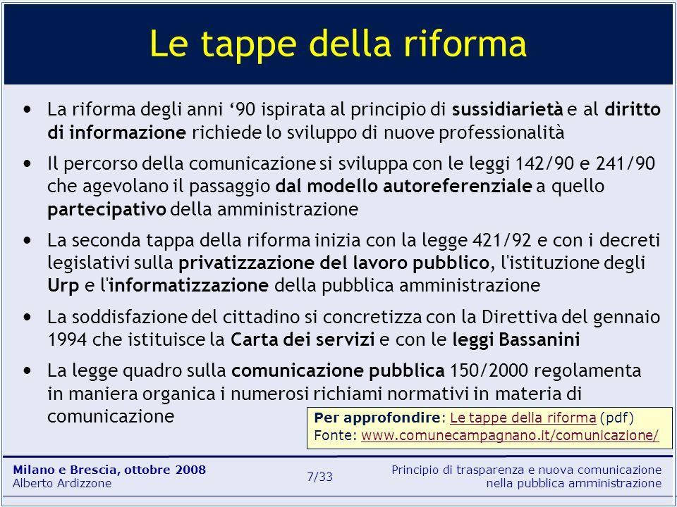 Principio di trasparenza e nuova comunicazione nella pubblica amministrazione Milano e Brescia, ottobre 2008 Alberto Ardizzone 18/33 informazionecomunicazione portavoceUfficio per le relazioni con il pubblico Ufficio stampa La L.
