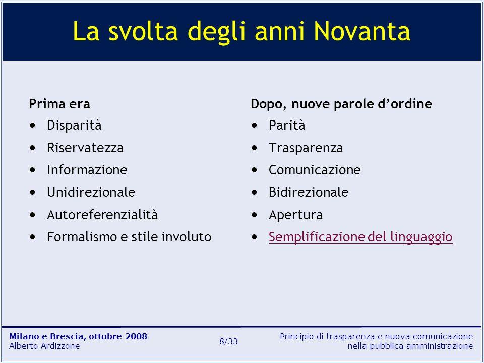 Principio di trasparenza e nuova comunicazione nella pubblica amministrazione Milano e Brescia, ottobre 2008 Alberto Ardizzone 9/33 trasparenza L.