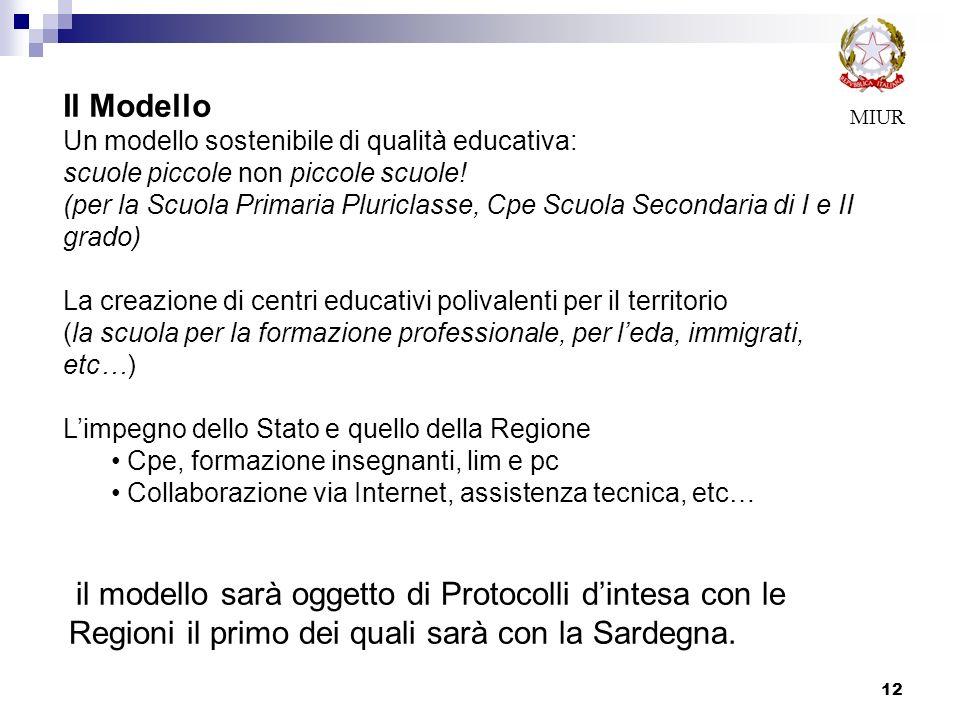 il modello sarà oggetto di Protocolli dintesa con le Regioni il primo dei quali sarà con la Sardegna. 12 MIUR Il Modello Un modello sostenibile di qua