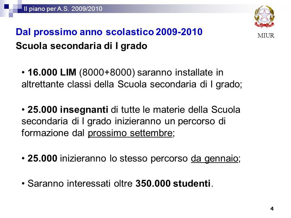 MIUR Il piano per A.S. 2009/2010 4 16.000 LIM (8000+8000) saranno installate in altrettante classi della Scuola secondaria di I grado; 25.000 insegnan