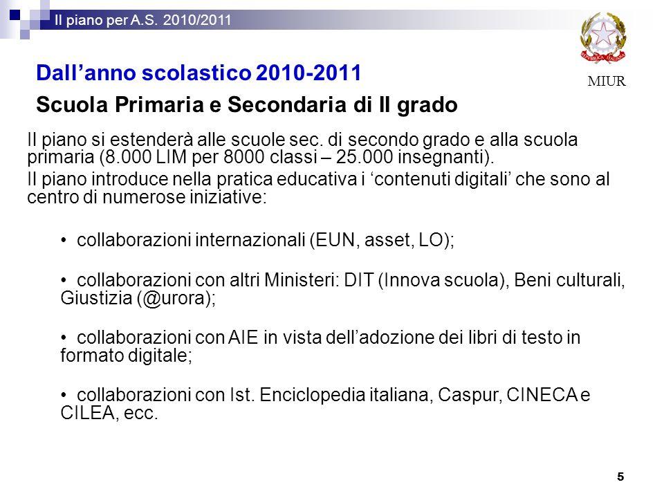 MIUR Il piano per A.S. 2010/2011 5 Il piano si estenderà alle scuole sec. di secondo grado e alla scuola primaria (8.000 LIM per 8000 classi – 25.000