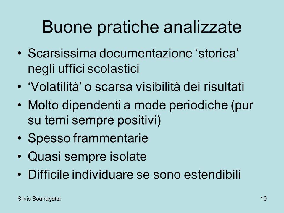 Silvio Scanagatta 10 Buone pratiche analizzate Scarsissima documentazione storica negli uffici scolastici Volatilità o scarsa visibilità dei risultati
