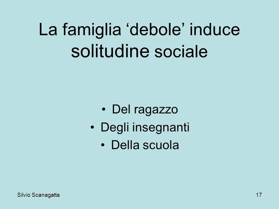 Silvio Scanagatta 17 La famiglia debole induce solitudine sociale Del ragazzo Degli insegnanti Della scuola