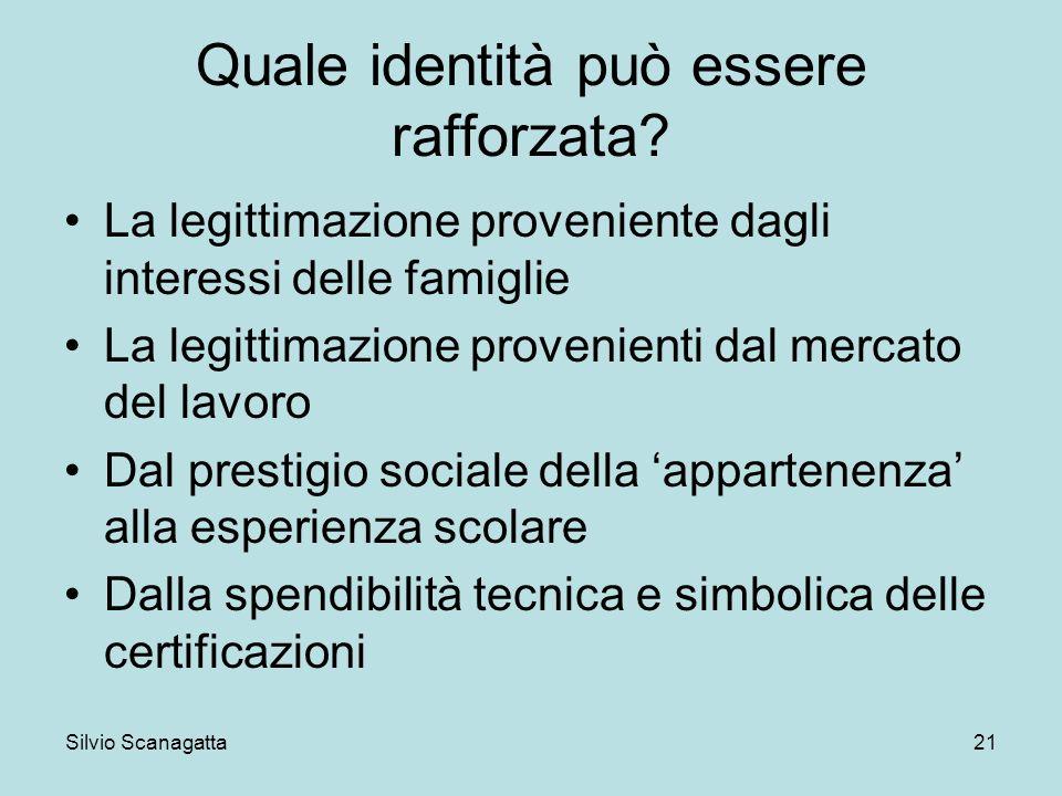 Silvio Scanagatta 21 Quale identità può essere rafforzata? La legittimazione proveniente dagli interessi delle famiglie La legittimazione provenienti