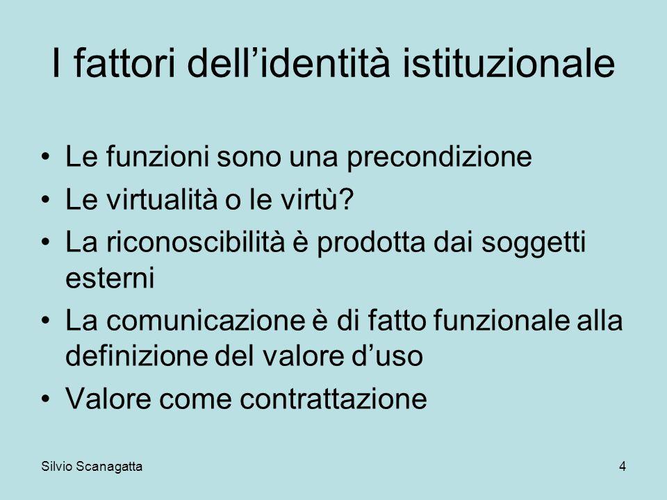 Silvio Scanagatta 4 I fattori dellidentità istituzionale Le funzioni sono una precondizione Le virtualità o le virtù? La riconoscibilità è prodotta da