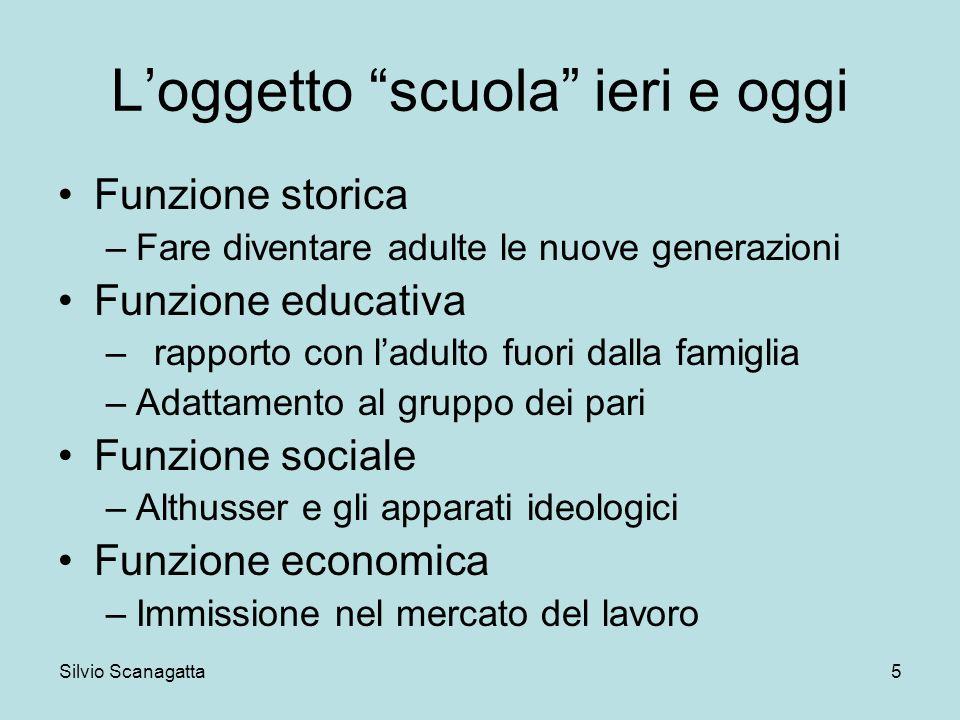 Silvio Scanagatta 5 Loggetto scuola ieri e oggi Funzione storica –Fare diventare adulte le nuove generazioni Funzione educativa –rapporto con ladulto