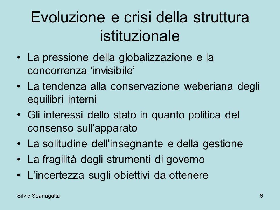 Silvio Scanagatta 6 Evoluzione e crisi della struttura istituzionale La pressione della globalizzazione e la concorrenza invisibile La tendenza alla c