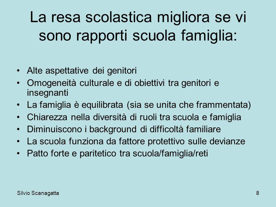 Silvio Scanagatta 8 La resa scolastica migliora se vi sono rapporti scuola famiglia: Alte aspettative dei genitori Omogeneità culturale e di obiettivi