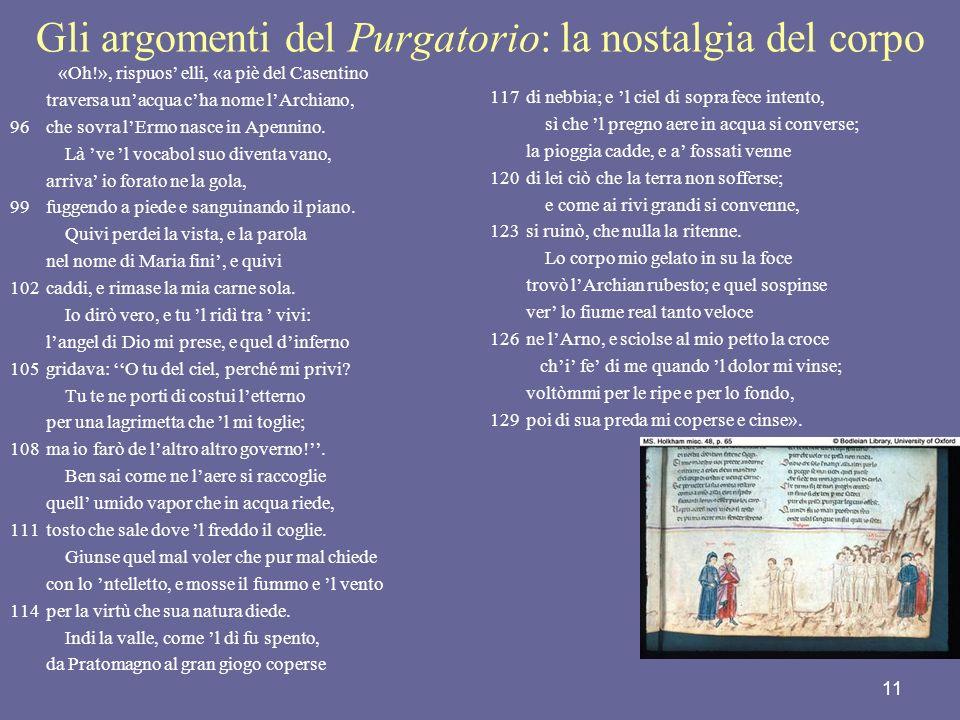 11 Gli argomenti del Purgatorio: la nostalgia del corpo «Oh!», rispuos elli, «a piè del Casentino traversa unacqua cha nome lArchiano, 96che sovra lEr