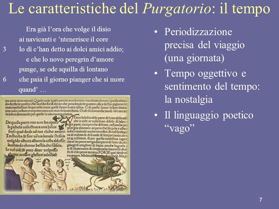 7 Le caratteristiche del Purgatorio: il tempo Era già lora che volge il disio ai navicanti e ntenerisce il core 3lo dì chan detto ai dolci amici addio