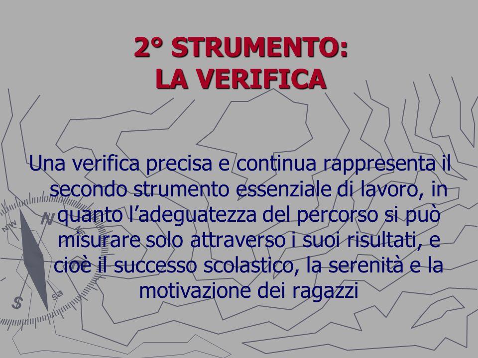 2° STRUMENTO: LA VERIFICA Una verifica precisa e continua rappresenta il secondo strumento essenziale di lavoro, in quanto ladeguatezza del percorso s